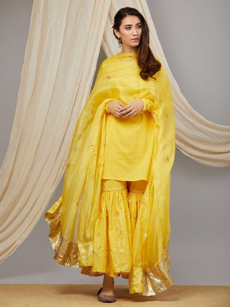 1e300ce1d1 Yellow Cotton Mul Kurta with Hand Embroidered Sharara and Kota Silk  Dupatta-Set of 3