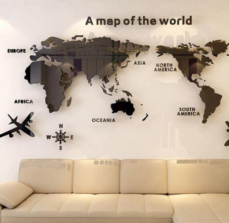 Acrylic Wall Decoration Wall Sicker Background World Map