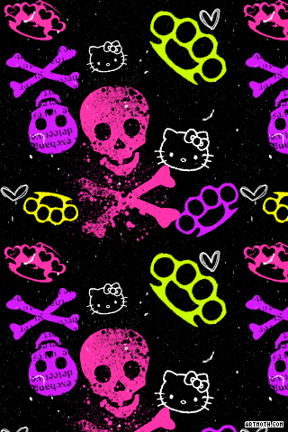 1342 Cross Bones And Hello Kitty Iphone Wallpaper Gif 320 480 Hello Kitty Iphone Wallpaper Skull Wallpaper Hello Kitty Wallpaper