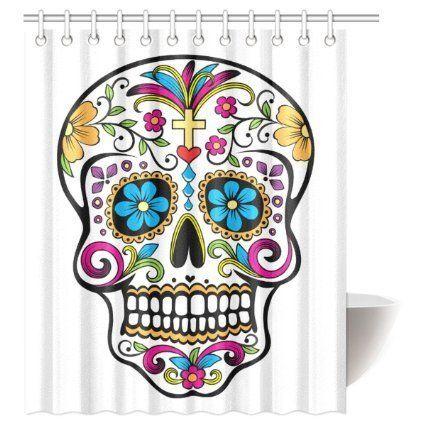 Cozybath 14 Piece Dia De Los Muertos 60w X 72h Shower Curtain And Mat Set By Cozybath Click Image Floral Wall Art Prints Skull Shower Curtain Skull Wall Art