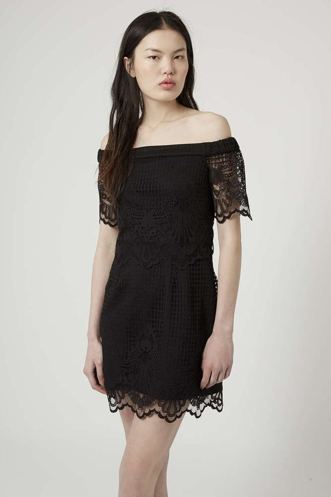NEW TOPSHOP BLACK LACE BARDOT BODYCON DRESS 6 to 16 in Clothes ... dd178aa53d