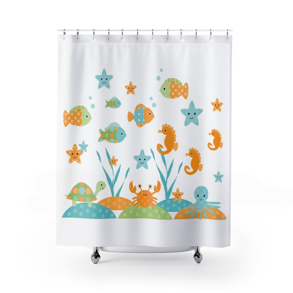 Ocean Sea Life Fish Theme Canvas Fabric Shower Curtain Teal Blue