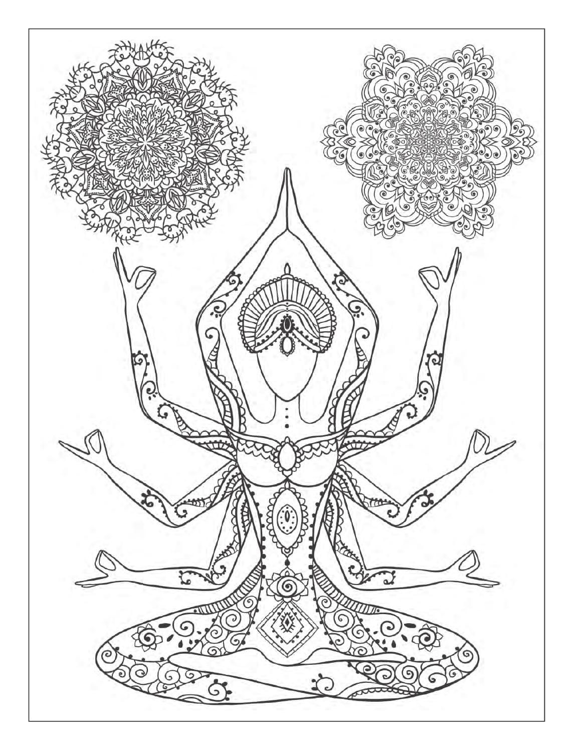 Yoga and meditation coloring book for adults with yoga for Yoga coloring pages
