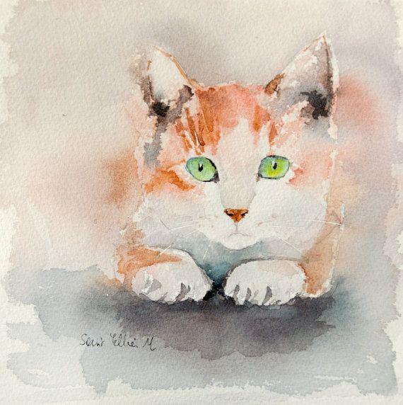 Aquarelle Originale De Tete De Chat Roux Et Blanc Peinture