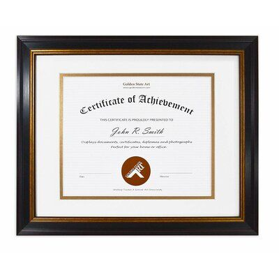 Winston Porter Golden State Art 11x14 Frame For 8x10 Diploma Certificate Black Gold Burgundy Colour Includes White Over Gold Double Mat And Rea Certificate Frames Frame State Art