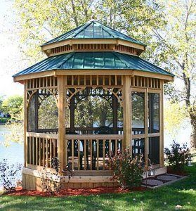 Screened Gazebo- dual roof probably allows for a fan ...
