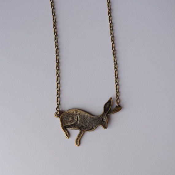 Woodland Inspired Rabbit Necklace in Antique by PrairieDustInc, $12.00