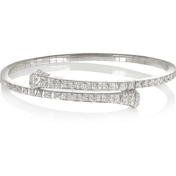 Gucci 18 karat white gold diamond bracelet $13 200 ❤ liked on
