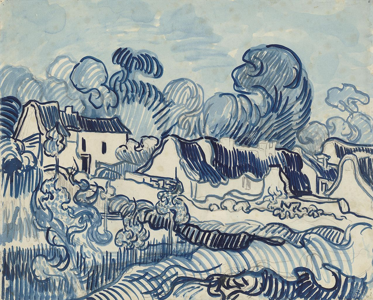 Landscape with houses vincent van gogh design for Minimalisme art