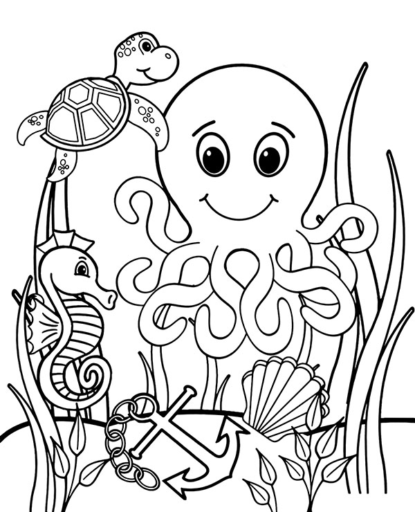 Sea animals to color free coloring worksheet, fish ...