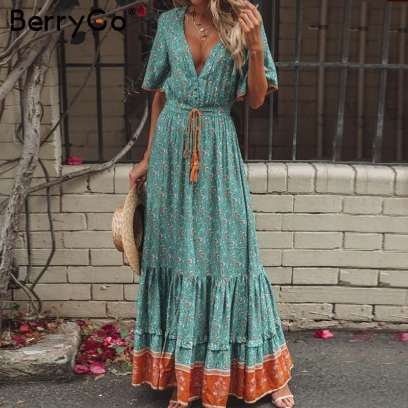 b1aec852211eb0 BerryGo Bohemian dresses print summer dress women Short sleeve ruffled –  KOREAIDOLFEVER