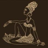 africanas : Ilustración de la silueta de la hermosa niña africana con cesta de…