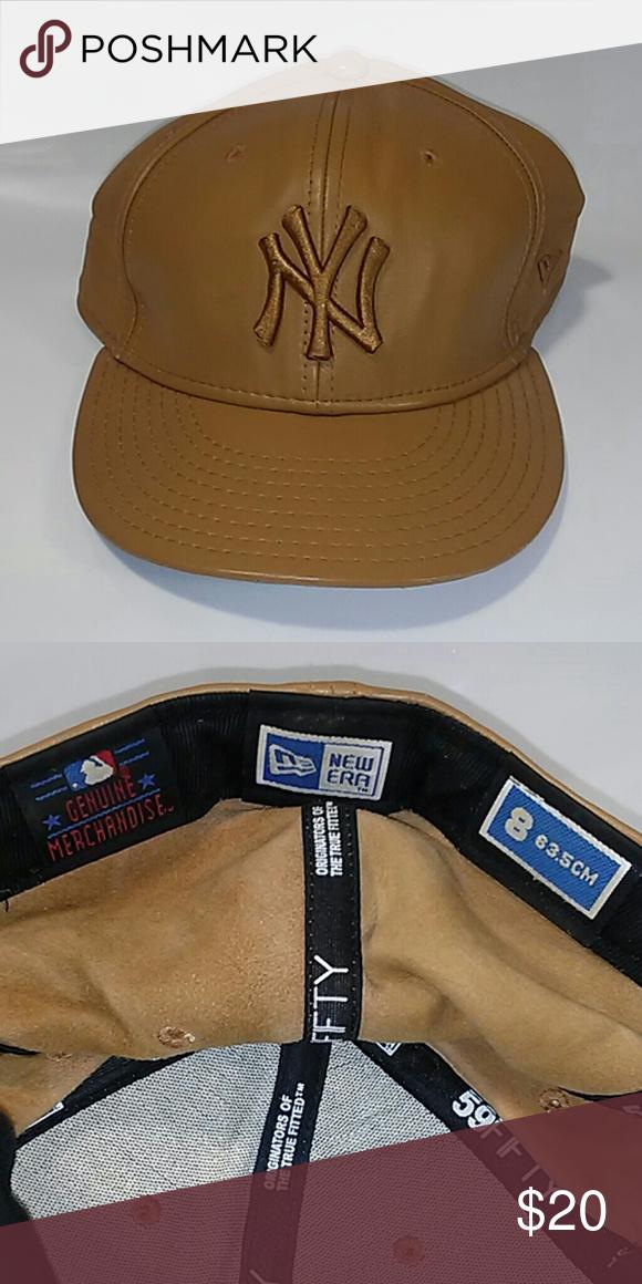 8dda57755 New Era New York Yankees 100% Leather Hat Cap New Era New York Yankees 100%  Leather Hat Cap Size 8 (63.5 cm) Very good condition New Era Accessories  Hats