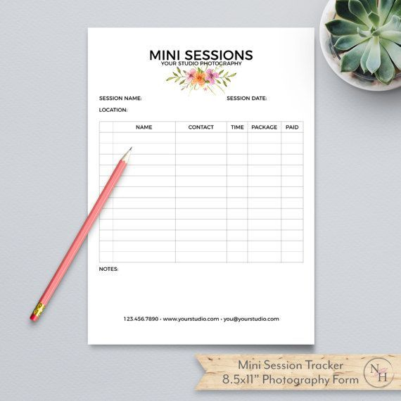 Mini Session Sign up Form, Plus Studio Stationery Template - Sign Sheet Template
