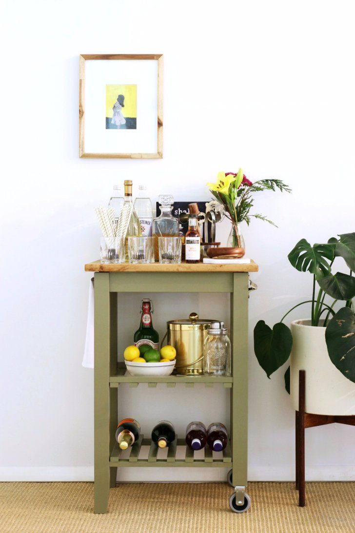Turn a $9 Ikea Kitchen Cart Into a Gorgeous, Party Ready Mini Bar ...