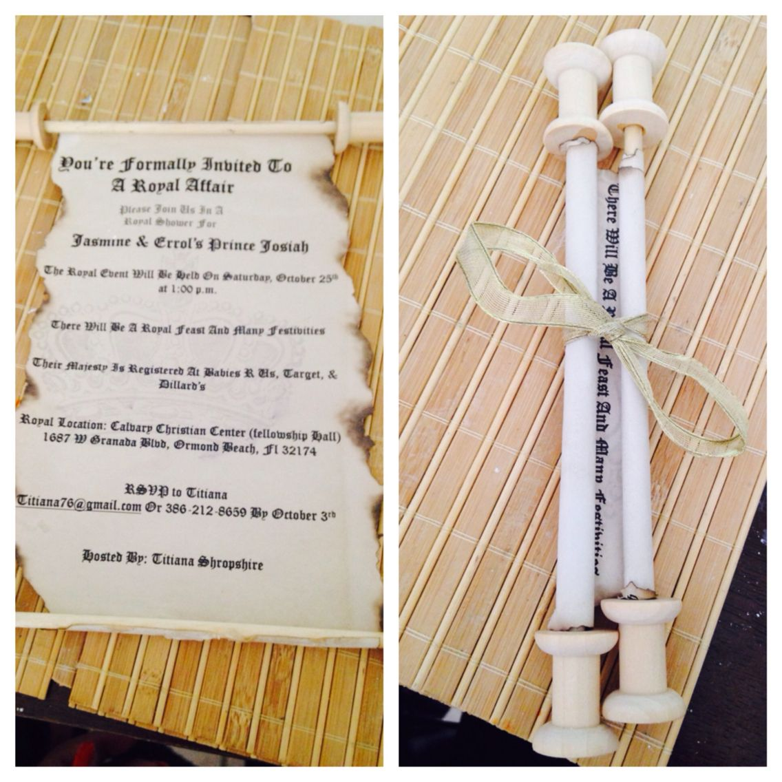 Prince baby shower scroll invites from scratch created by my mother ...