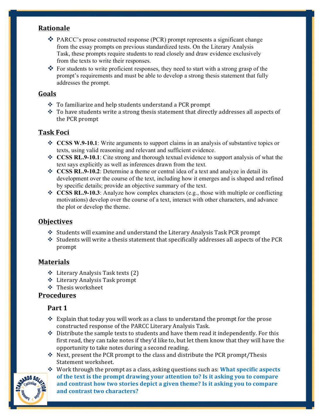 parcc gr 10 writing lesson plan samples pg2 parcc 10th