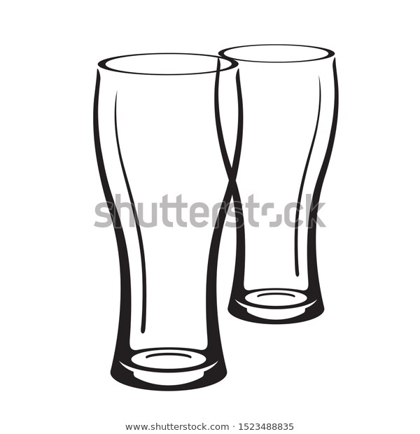 Glasses Beer Icons Vector Silhouettes Stock Vector Royalty Free 1523488835 Beer Icon Black And White Illustration Icon