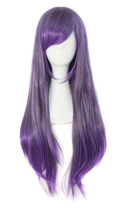 """Anime Long Wavy/Straight-Anime Wig-26"""" Inch-Color-Purple Blend. Imported: Takes up 20-25 days for arrival. Material : 100% Top Kanekalon Fiber Adjustable Monofilament Net Length: 26"""" Inch. Textile: Straight Fits most all. Please review shipping charges and details."""