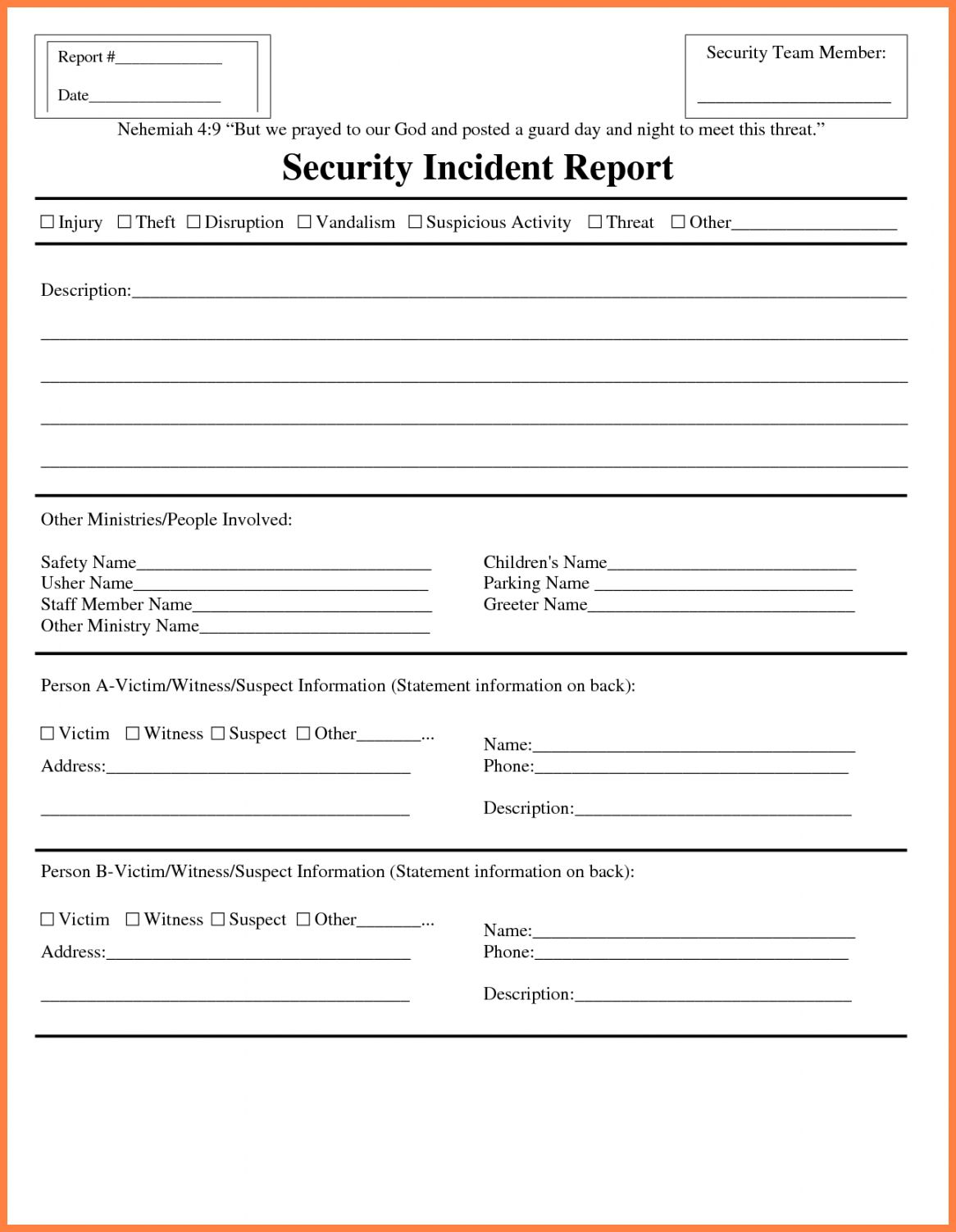 Information Technology Incident Report Template with