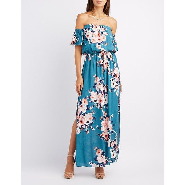 6fcacf10cf0b Charlotte Russe Floral Off-The-Shoulder Maxi Dress ( 30) ❤ liked on  Polyvore featuring dresses