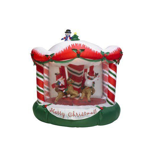 Amazon Com 8ft Gemmy Rotating Christmas Bear Santa Penguin Snowman Carousel Airblown Inflatable Yard Art Christmas Bear Yard Art Christmas