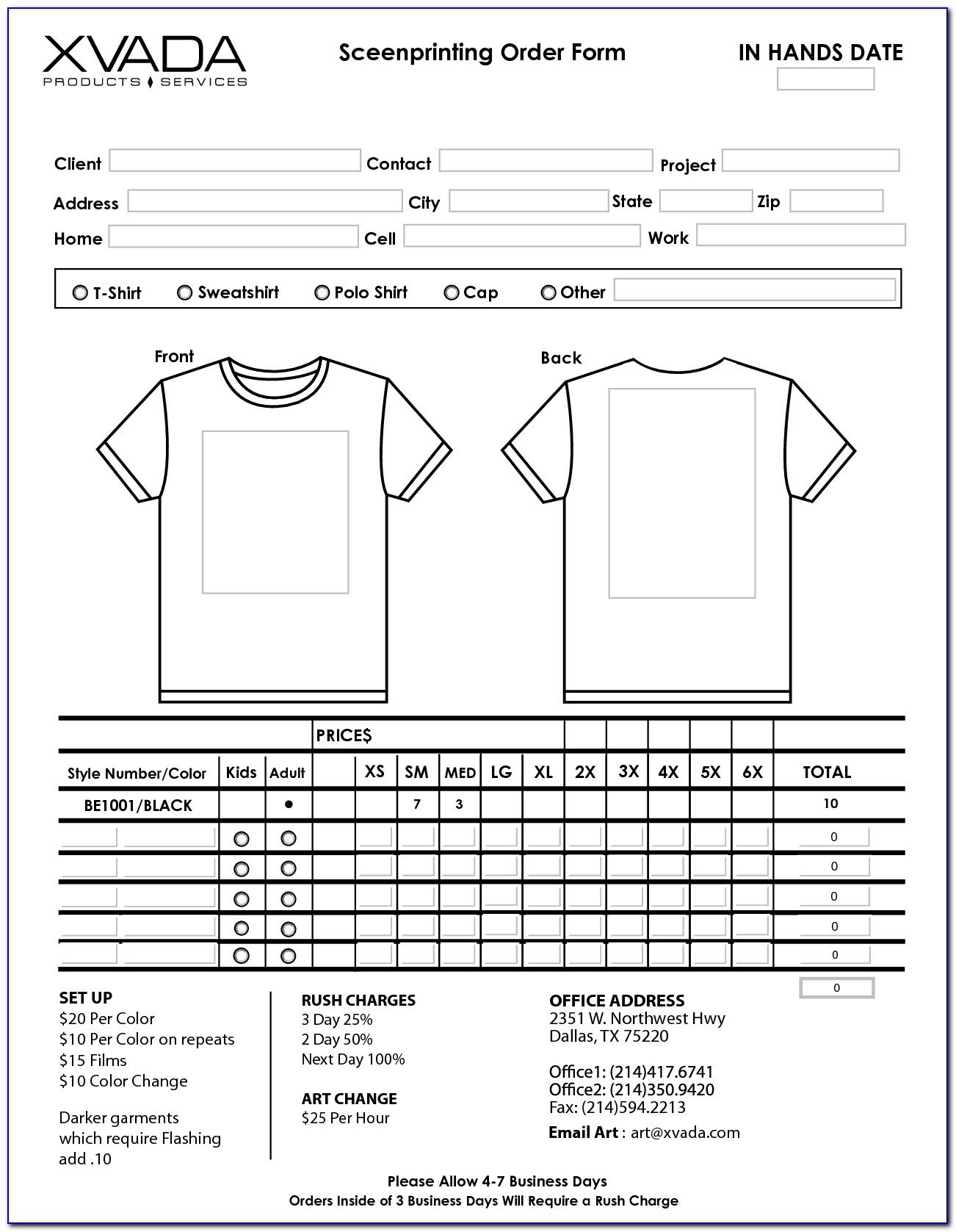 Sample T Shirt Order Form Template Form Resume