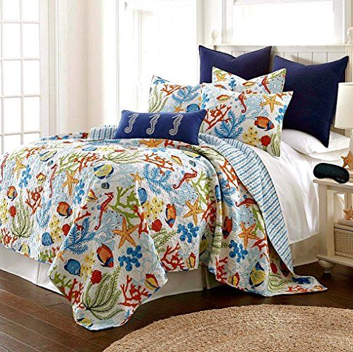 Tropical Fish Coral Starfish Seashell Nautical 100% Cotton Quilt, Shams + Home Style Exclusive Sleep Mask (Bedding Bundle) (Full) Home Style http://www.amazon.com/dp/B015NLUYQU/ref=cm_sw_r_pi_dp_hCblwb09F3PQ6