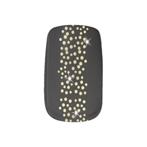 Black and Gold Sparkly Glitzy Party Nails Minx® Nail Art