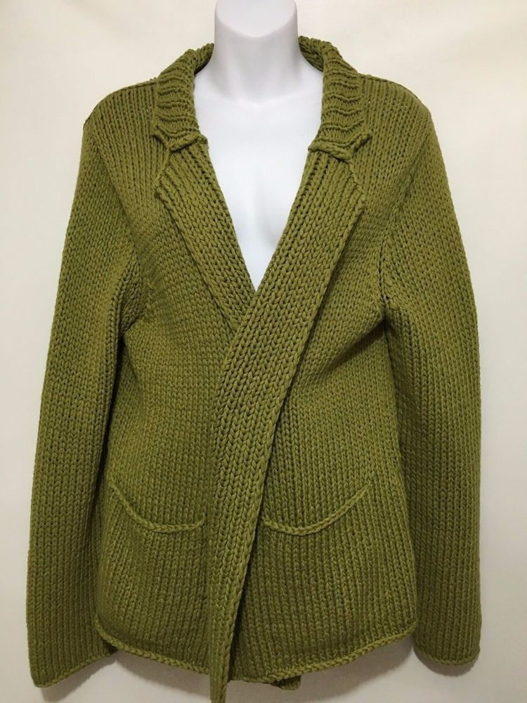 Eileen Fisher Womens M Olive Green Cotton Wrap Cardigan Sweater ...