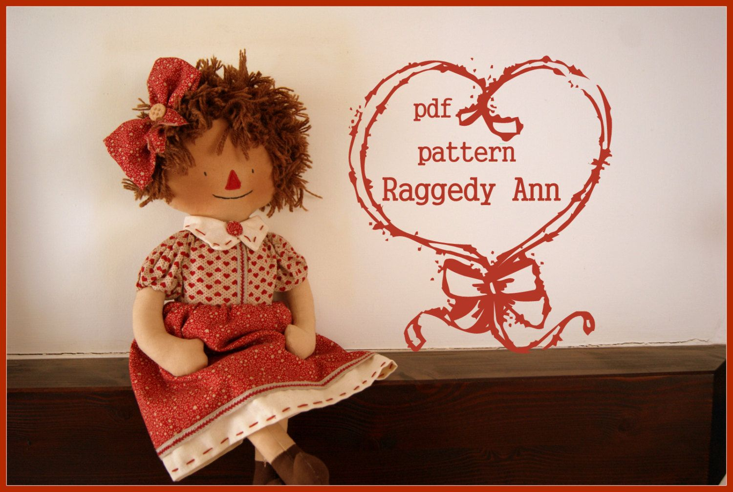 PDF raggedy Ann pattern vintage doll sewing by lauracountrystyle