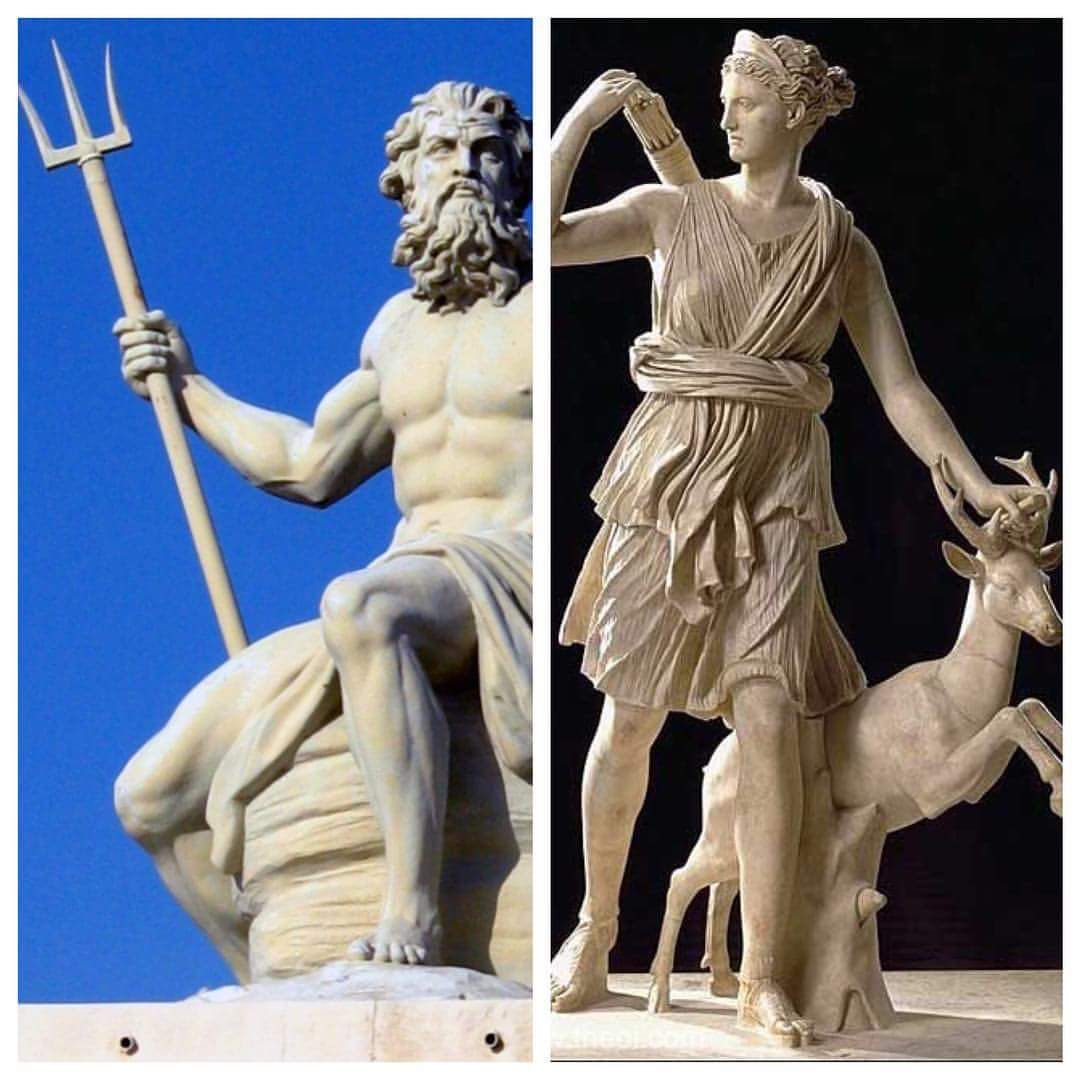 My two all time favorite Greek/Roman deities Poseidon/Neptune and Artemis/Diana because I love the sea, the moon, and archery