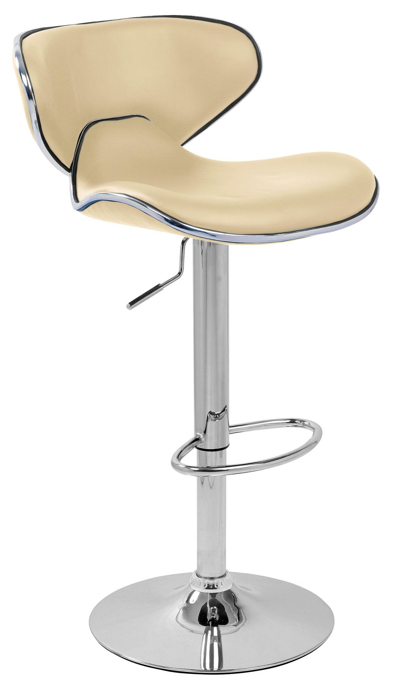 Neutral Color Of Modern Bar Stool Design With Adjustable Height And Round Stainless Steel Base Also Back Support And Cream Leather Top With Metallic Accent