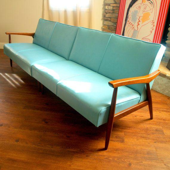 50s VINTAGE DANISH MODERN Sectional Sofa Lovely 1950's
