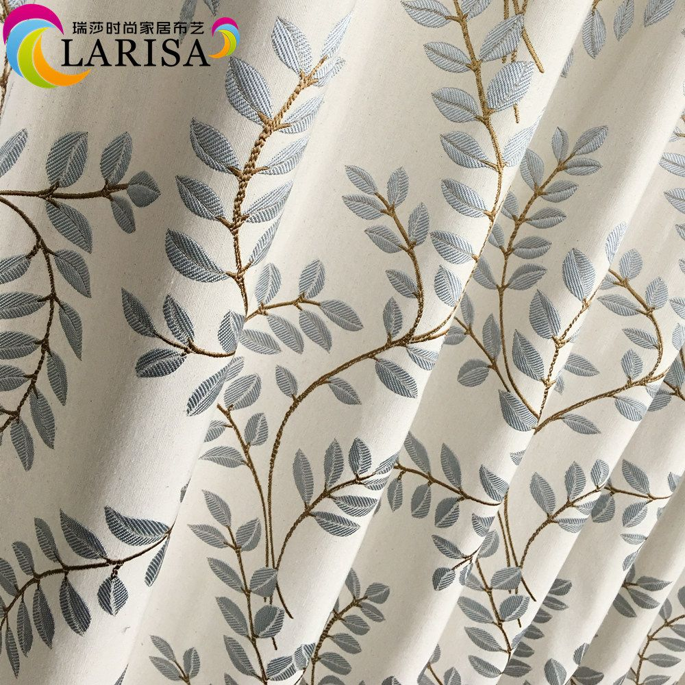 2016 Contemporary Leaves Light Blue Jacquard Woven Linen Like