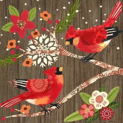 Alpine Cardinals ~ by Jennifer Brinley