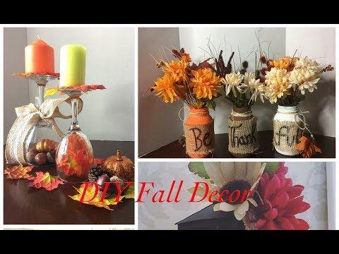 How To Make A Fall Centerpiece Dollar Tree Decor Youtube Dollar Store Fall Decor Fall Decor Diy Fall Decor Dollar Tree