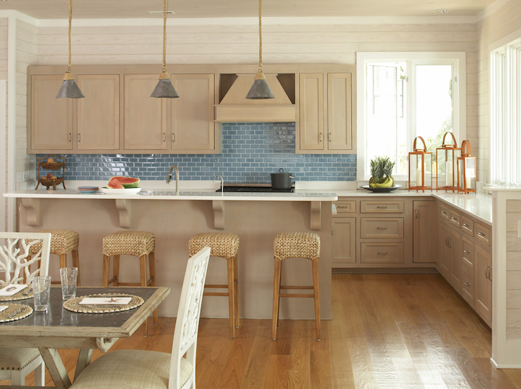 Suzie Amanda Nisbet Design Beachy Seaside Kitchen With Milk Chocolate Shaker Cabinets Blue