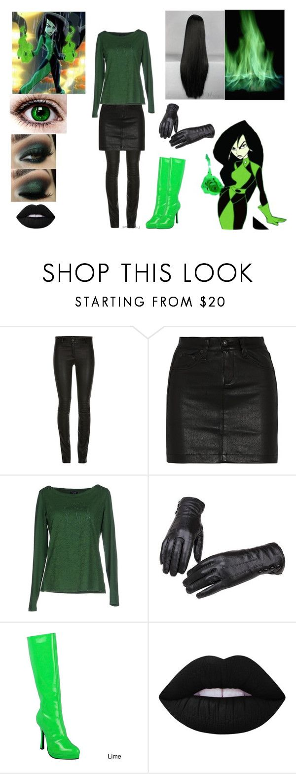 """Disney Throwback Inspired ""Teenage Shego"""" by mundca ❤ liked on Polyvore featuring rag & bone/JEAN, Armani Jeans, Ellie and Lime Crime"