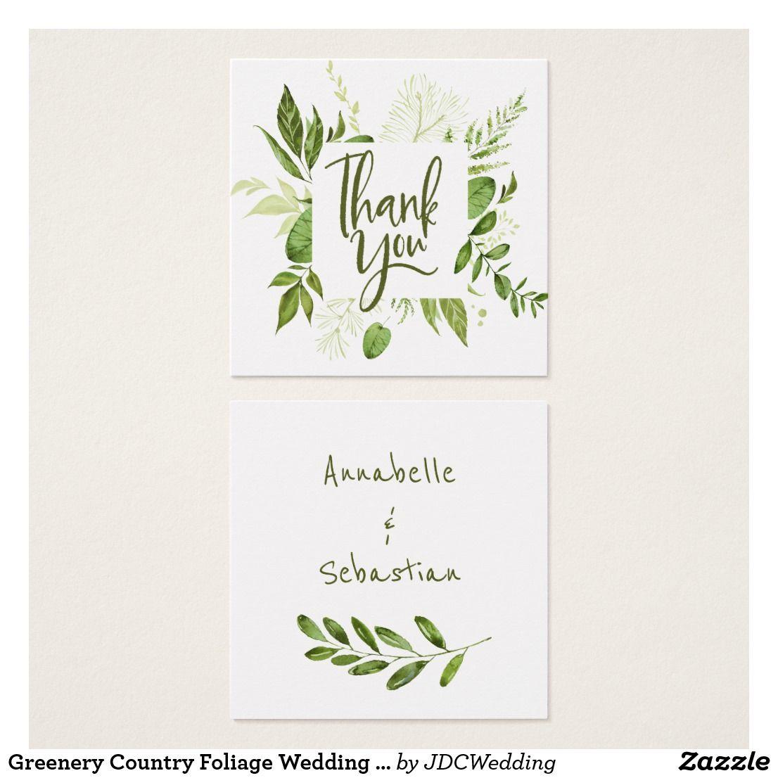Greenery Country Foliage Wedding Thank You Square Business Card June 13 2017 Zazzle Junkydotcom