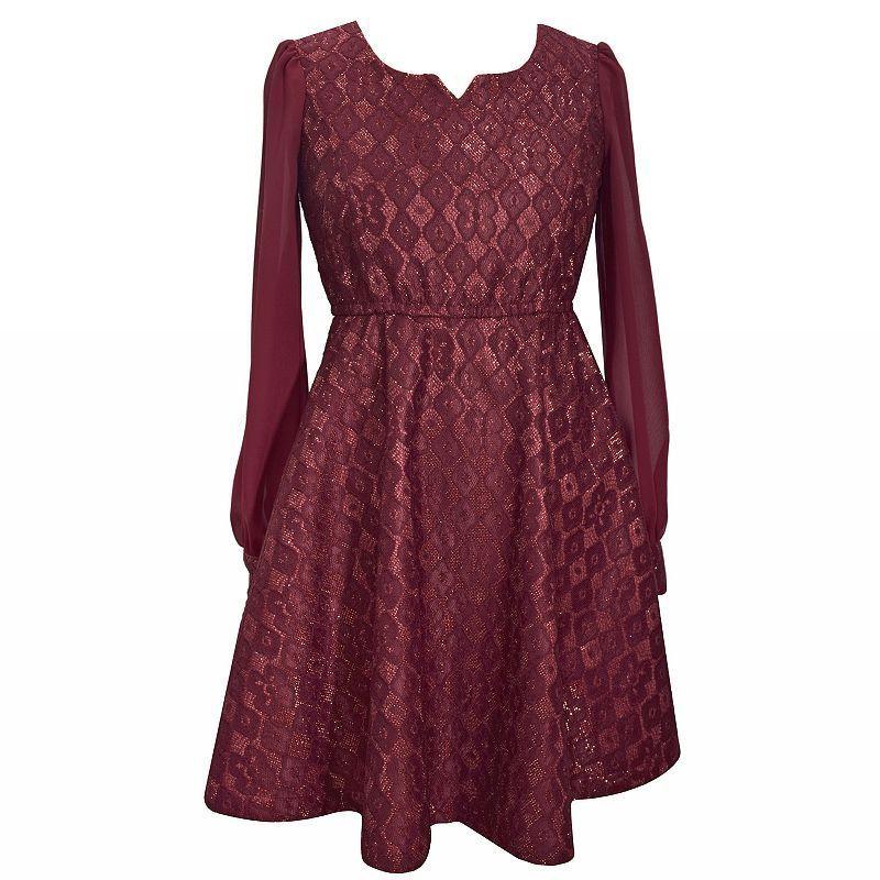 414b004ae2d0 Girls Plus Size Bonnie Jean Bonded Lace Skater Dress