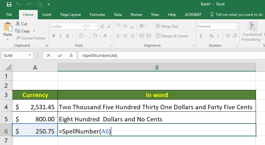 Ms Excel How To Convert Currency Into Words Excel Words Converter