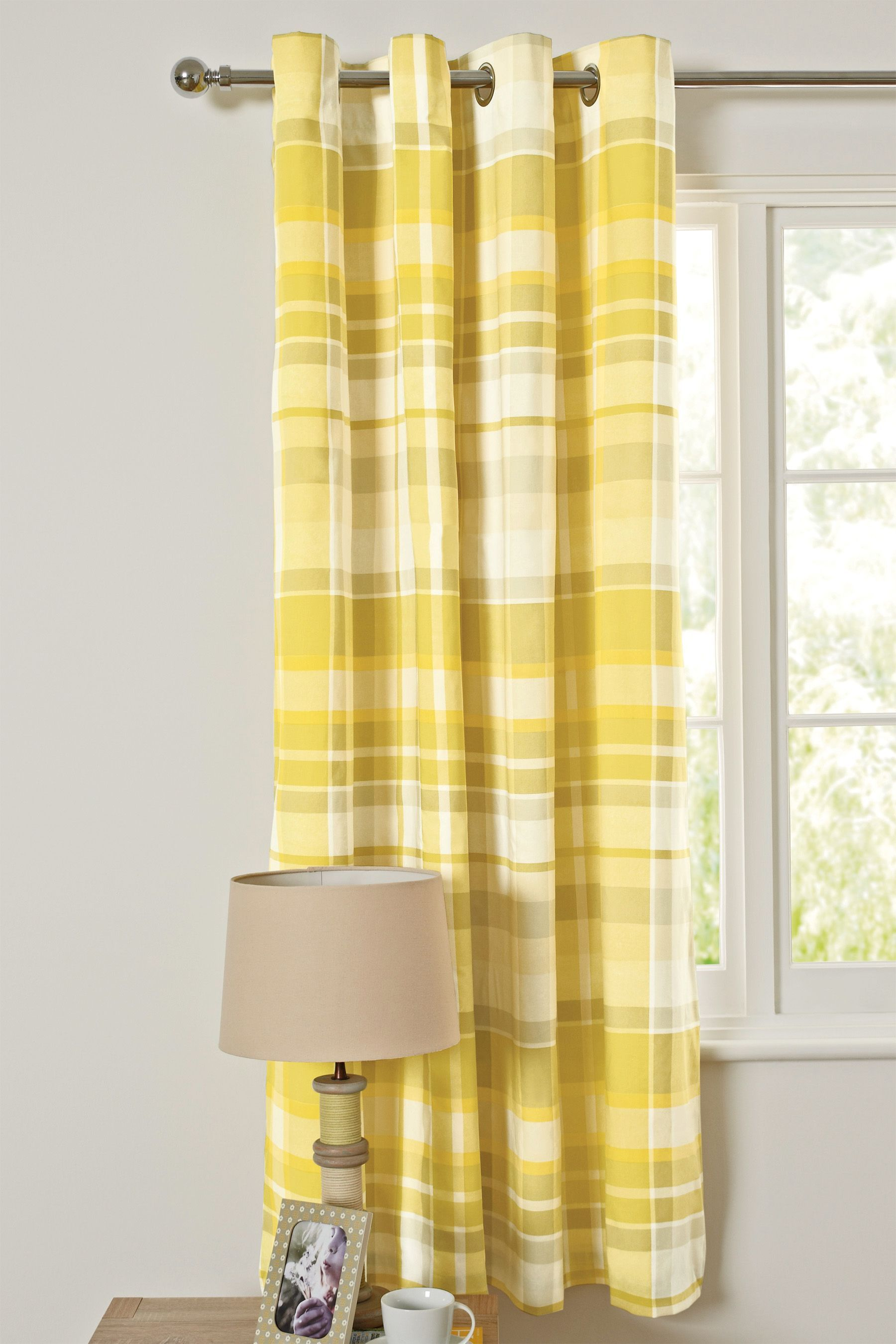 buy ochre check eyelet lined curtains from the next uk online shop