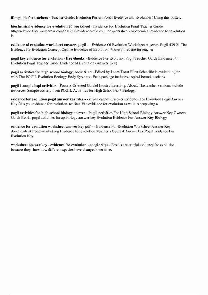 Evidence For Evolution Worksheet Answers Pdf - worksheet