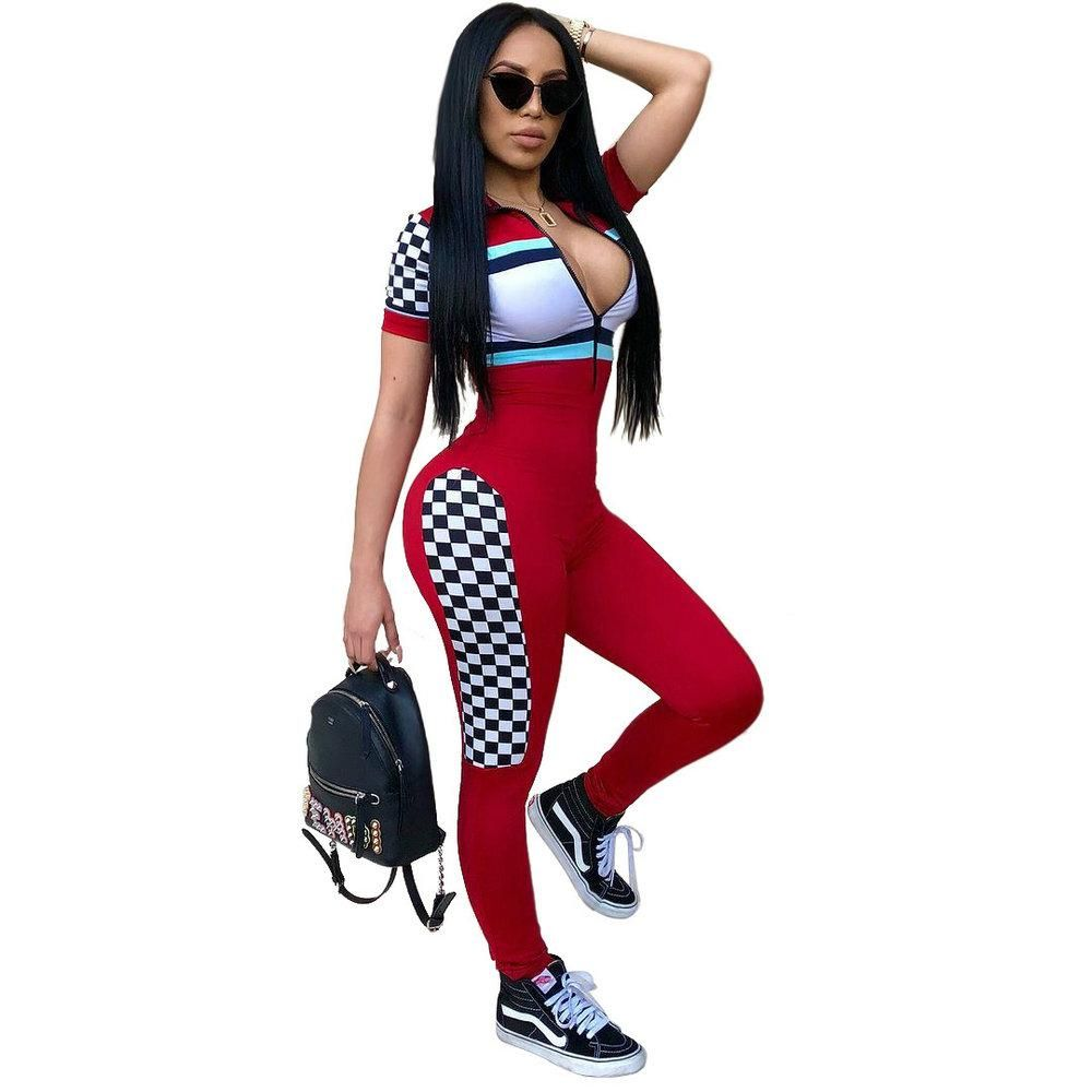 95c5ce76e9b0 Hot Selld Women Tight Bodysuit Sexy Overalls Night Club Rompers Party  Playsuit Bodycon Red Jumpsuit Sporty Stripe Jumpsuit. Yesterday s price  US   34.93 ...