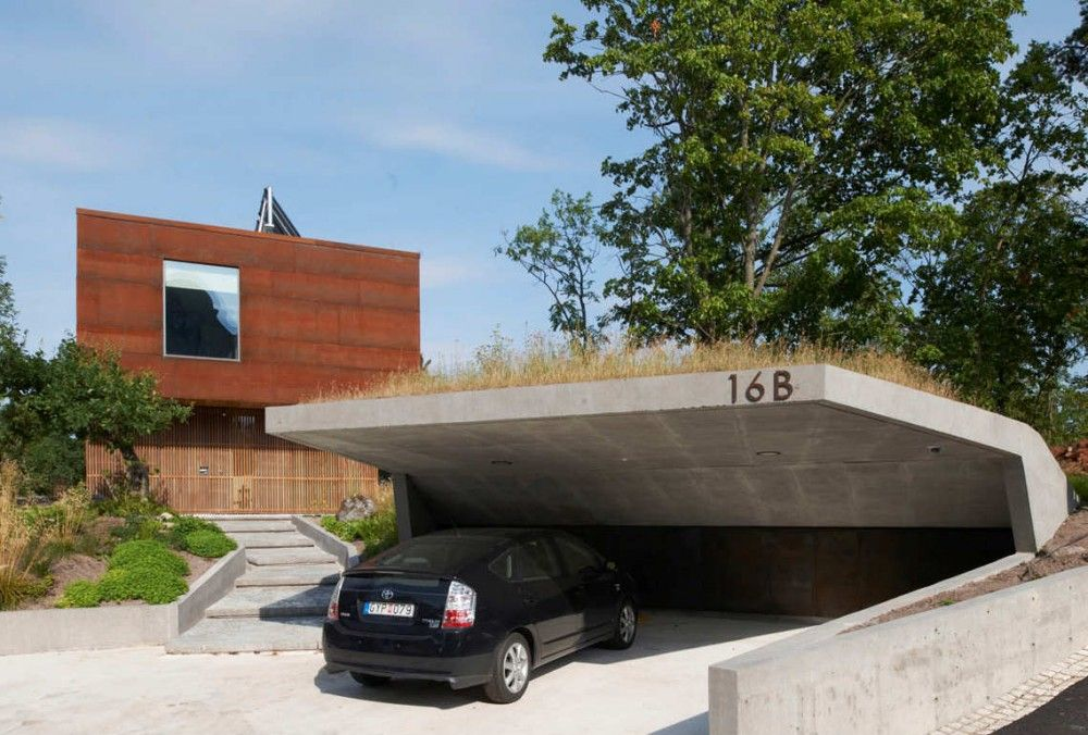 Concrete Garage Canopy In Villa Midgard DAPstockholm