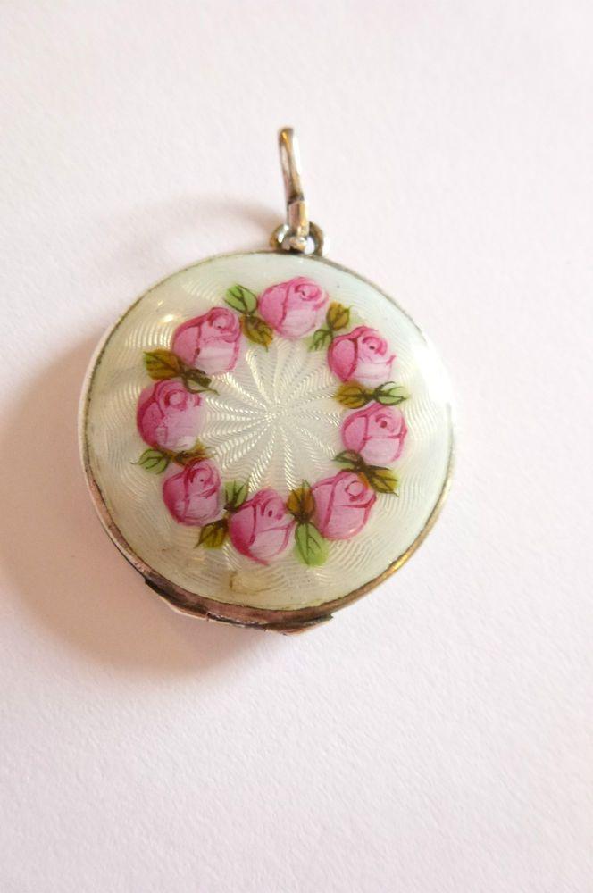 Jugendstil Art Nouveau Anhanger Emailliert In Silber Blumen