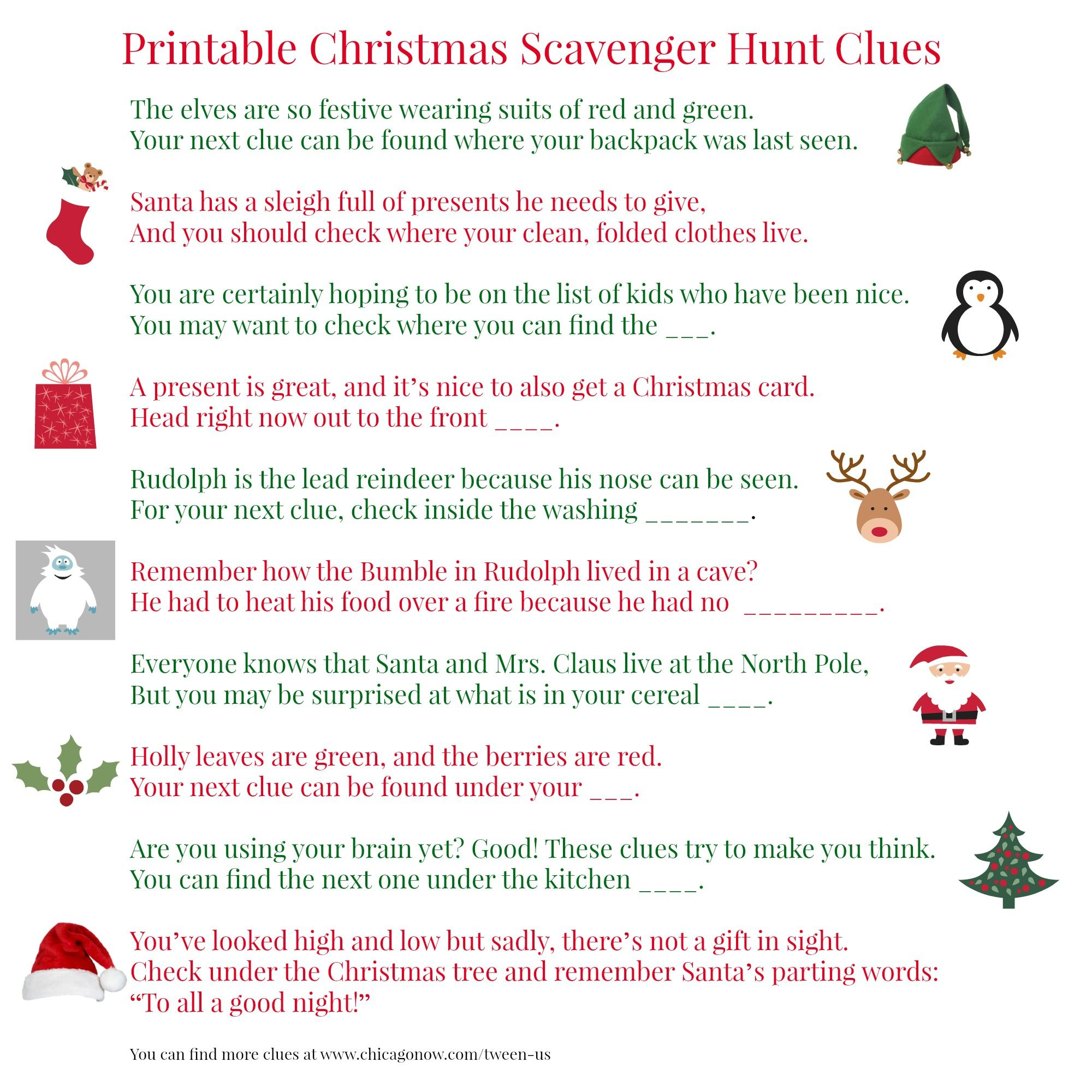 Printable Christmas scavenger hunt clues for present