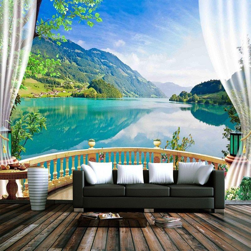 Polzovatelskie 3d Foto Oboi Balkon Okno Goluboe Nebo Belye