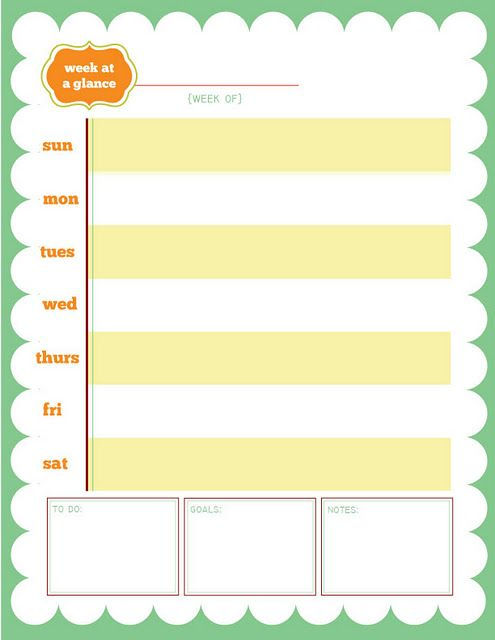 free week at a glance printable organization so me at a glance